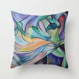 Middle Eastern Belly Dance With Pastel Veils Throw Pillow
