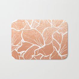 Modern copper tan terracotta glitter ombre color block white floral pattern illustration Bath Mat
