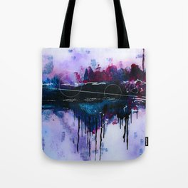 Dawn, pink and fushia black and blue acrylic abstract artwork Tote Bag