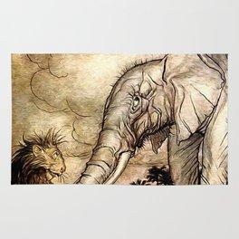 An Elephant and A Lion - Vintage Artwork Rug