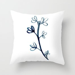 Deep Blue Botanical Watercolor Painting by Emma Freeman Designs Throw Pillow