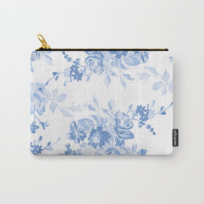 Modern navy blue white watercolor elegant floral Carry-All Pouch