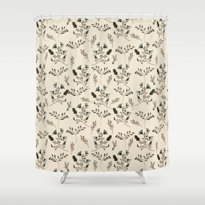 Ivory Cream And Bluebells Bluebirds Fl Pattern Flowers In Blue Bark Brown Shower Curtain
