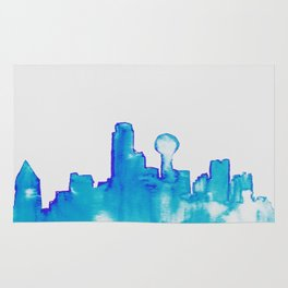 Dallas in Blue Abstract Skyline Watercolor Rug