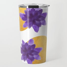 Reassurance // Violet Watercolor Flowers and Gold Spots Travel Mug