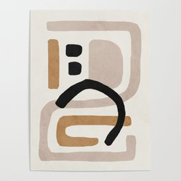 Abstract shapes art, Mid century modern art Poster