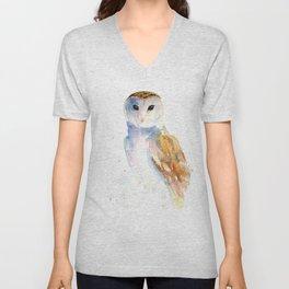 Evening Barn Owl Unisex V-Neck