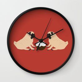 Christmas Pudding and Pugs Wall Clock