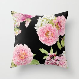 Black and Pink Watercolor Peony Throw Pillow