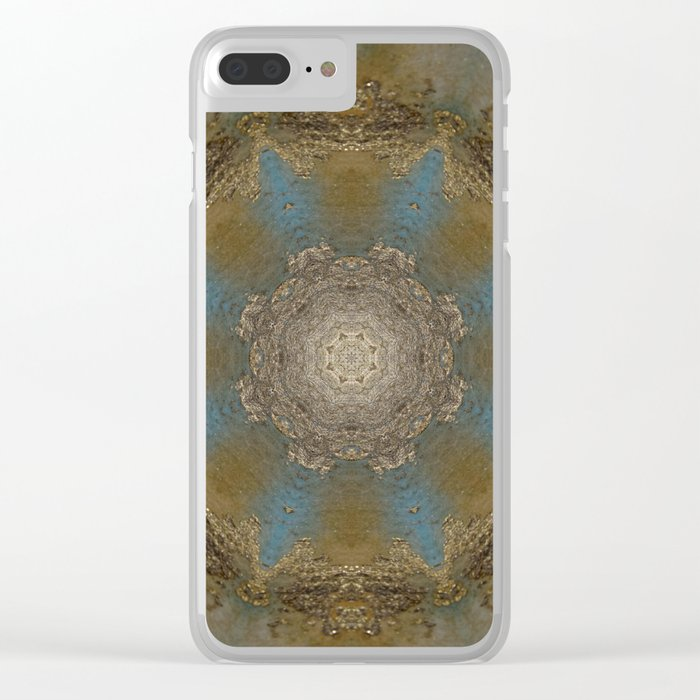 Gold Liquid Turquoise Star Elegance Clear iPhone Case