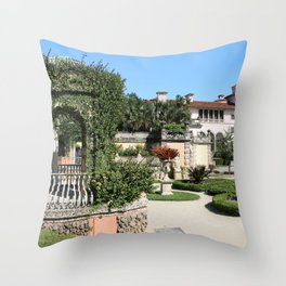 Villa Vizcaya Garden View Throw Pillow