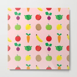 A Cute Concoction of Fruit and Vegetables. Vegan Heaven! Metal Print