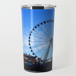The Great Wheel in Seattle on a Blue Sky Day Travel Mug
