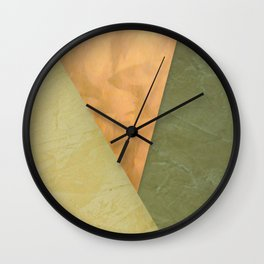 Golden Triangle With Green and Cream Wall Clock