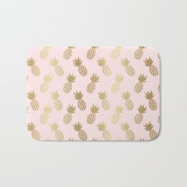 Pink & Gold Pineapples Bath Mat
