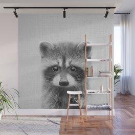 Raccoon - Black & White Wall Mural