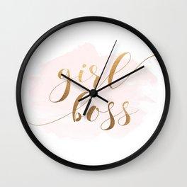 Girl Boss, Gold Decor, Gold Glitter, Girl Boss Print, Boss Lady, Office Decor Wall Clock