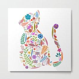 Fancy And Fine Flowered Cat Garden Design Metal Print