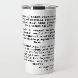 It was one of those rare smiles - F. Scott Fitzgerald Travel Mug