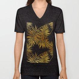 Tropical Palm Fronds Noir Unisex V-Neck