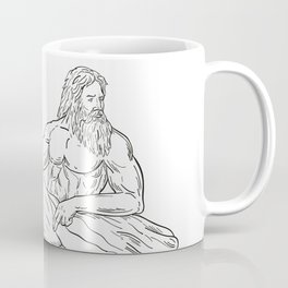 Heracles Reclining Side Drawing Black and White Coffee Mug
