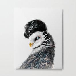 Tattooed Lady Owl Metal Print