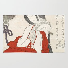 Woman with incense burner by Totoya Hokkei Rug