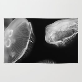 Jellyfish Photography | Wildlife Art | Nature | Black and White Photography Rug