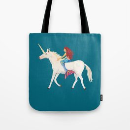 Red Haired Mermaid Rides the Unicorn Tote Bag