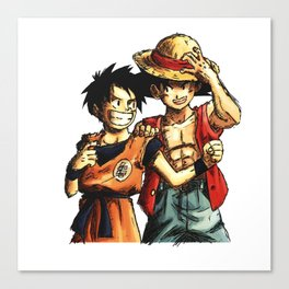 Monkey D. Luffy and Son Goku Canvas Print