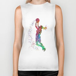 Basketball Girl Player Sports Art Print Biker Tank
