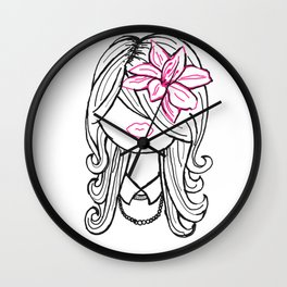 Pretty Hair Flower and Pearls Wall Clock