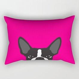 Boston Terrier Hot Pink Rectangular Pillow