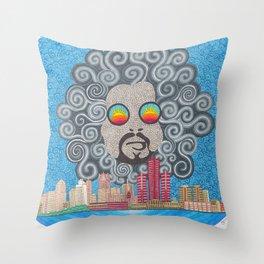MoodyMan over Detroit Throw Pillow