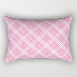 Bright Chalky Pastel Magenta and White Tartan Plaid Check Rectangular Pillow