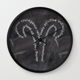 Aries on chalkbaord Wall Clock