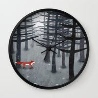 theater Wall Clocks featuring The Fox and the Forest by Nic Squirrell
