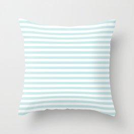 Duck Egg Pale Aqua Blue and White Wide Thin Horizontal Deck Chair Stripe Throw Pillow