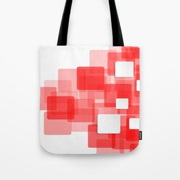 RED AND WHITE SQUARES ON A WHITE BACKGROUND Abstract Art Tote Bag
