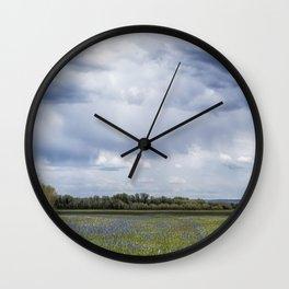 Field of Camas and Dandelions, No. 2 Wall Clock