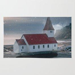 Floating Building in Vik Iceland Rug
