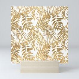Elegant tropical gold white palm tree leaves floral Mini Art Print