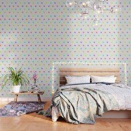 Cute Pastel Rainbow Hearts Pattern Wallpaper