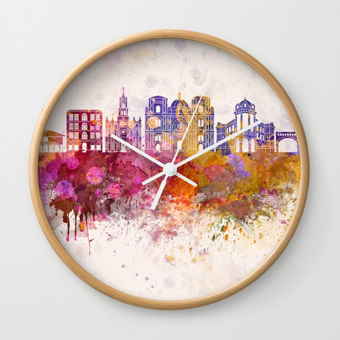 Cuenca EC skyline in watercolor background Wall Clock