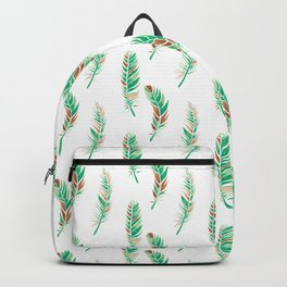 Watercolour Feathers - Greenery and Copper Backpack