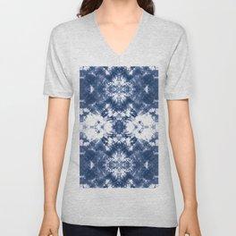 Shibori Tie Dye 4 Indigo Blue Unisex V-Neck