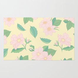 Summer Days Yellow Floral Print Rug