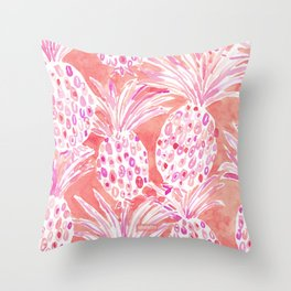 FLESHED OUT Tropical Pink Pineapples Throw Pillow
