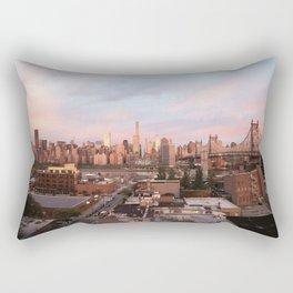 Manhattan City Skyline from Queens at Sunrise Rectangular Pillow