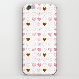 Pink and Gold Hearts Doodle Art iPhone Skin